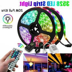 20M 66FT Flexible Strip Light 3528 RGB LED SMD Remote Fairy