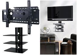 2xhome – NEW TV Wall Mount Bracket  & Three  Triple Shelf
