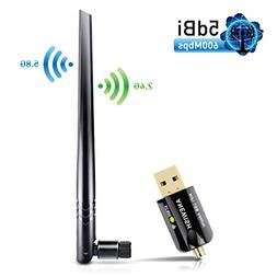 5dBi Antenna ANEWISH Wifi USB Adapter 600Mbps 802.11ac Dual