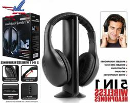 5 in 1 Headset Wireless Headphones Cordless RF Headset Earph