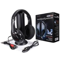 5 in 1 Stereo Wireless Headset Headphone+FM Transmitter for