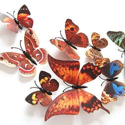 Amaonm® 60 Pcs 5 Packages Beautiful 3d Butterfly Wall Decal
