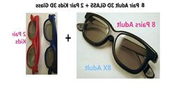 Beyution NEW 8 Pairs Adult + 2 Pair Kids Passive 3D glass Gl