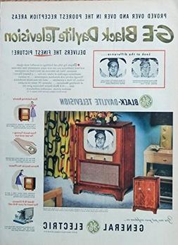 GE Black Daylite Television, print ad. Rare 50's Color Illus