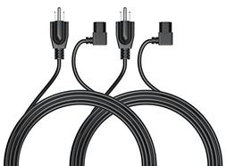 Pwr UL LISTED 2 PACK 6 Ft Cable 3 Prong AC Power Cord Replac