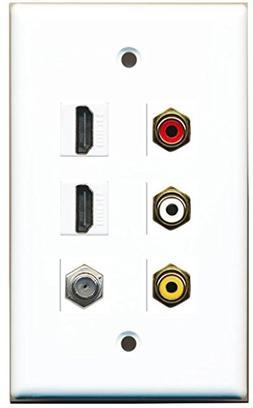 RiteAV - 3 x RCA - 2 X HDMI and 1 x Coax Cable TV Port Wall