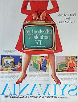Sylvania TV, 60's Vintage Print Ad.  Color Illustration, Ori