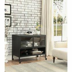 """Furniture of America Avera Industrial 47"""" TV Stand in Black"""