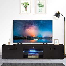 """63"""" Modern TV Stand LED Shelves With 2 Drawers Console Displ"""