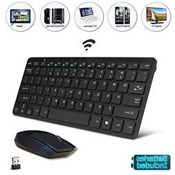 Black Wireless Mini Ultra Slim Keyboard and Mouse for Smart