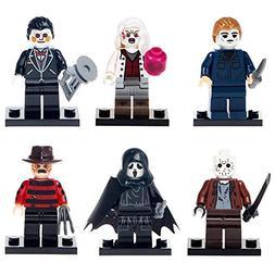 WAREHOUSEDEALS Block Minifigures Set 6pcs Films TV Scary Mon