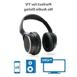 Bluetooth Wireless Headphones for TV black over ear PC Compu