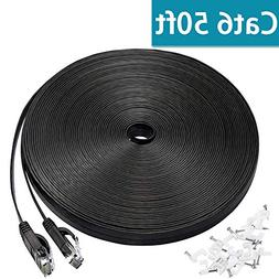 Cat 6 Ethernet Cable 50 ft, Flat Wire LAN Rj45 High Speed In