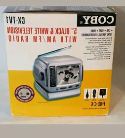 "Coby CX-TV1 5"" Portable Black & White Television TV with AM"