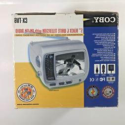 "Coby CX-TV6 5"" Portable Black & White TV Television AM/FM Ra"