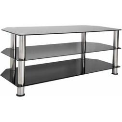Furniture Home Indoor Black Glass Floor Stand Chrome Legs fo