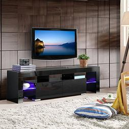Mecor TV Stand with LED Lights, 63 Inch High Gloss TV Shelve