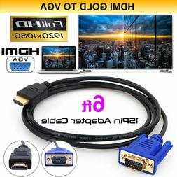 Gold HDMI Male to VGA Male 15 Pin Video Adapter Cable 1080P