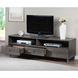 Grey Entertainment Center with 3 Drawers and Nickel Pulls, S