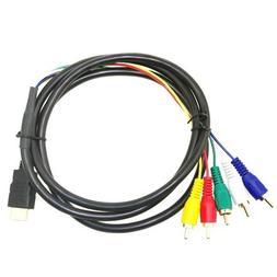 SLLEA 1080P 5 Foot 1.5m HDMI-Male to 5 RCA Video Audio AV Ca