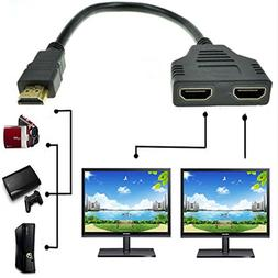 HDMI Male to Dual HDMI Female 1 to 2 Way HDMI Splitter Adapt