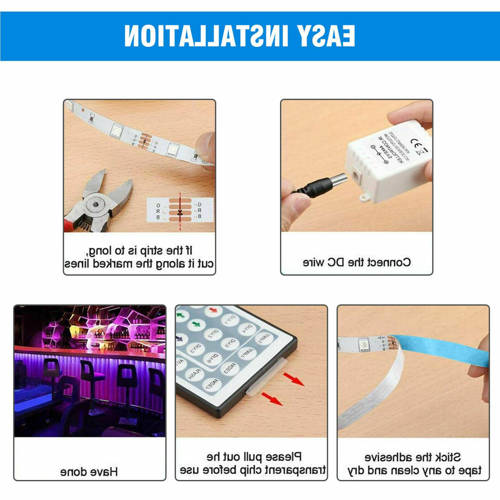 32FT Flexible 3528 LED Remote Lights TV Bar