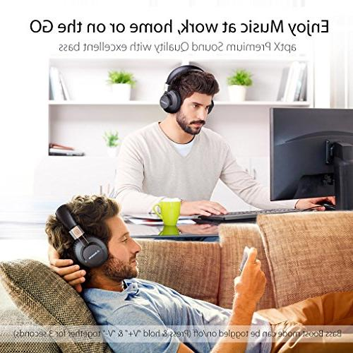 Avantree hr Wireless Bluetooth 4.1 Foldable Headphones Headset with Mic, APTX Fast Audio TV PC Computer NFC, Wired mode - Pro