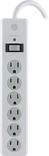 GE Power Strip Surge Protector, 6 Outlets, 4ft Power Cord, F