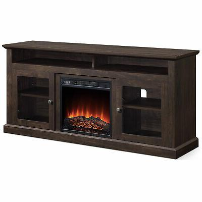 60 inch TV Console Shelves For TVs up Wide W/ Fireplace