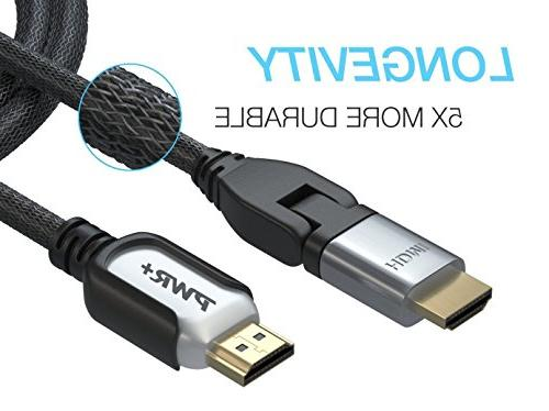Pwr+ 12 Ft HDMI 2.0 Braided High-Speed Ultra HD 2160p 1080P Ethernet 3D Samsung RCA VIZIO Dynex Apple Hp Sharp DISH Cable LCD