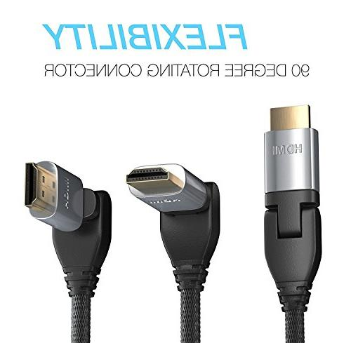 Pwr+ Ft HDMI 2.0 Ultra 1080P Ethernet Return HDMI-Cable - for Samsung Sony RCA Insignia VIZIO Dynex Apple Hp Cable TV HDTV LCD