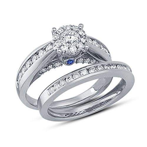 TVS-JEWELS Round Cut White CZ Dazzling Design Bridal Ring Se