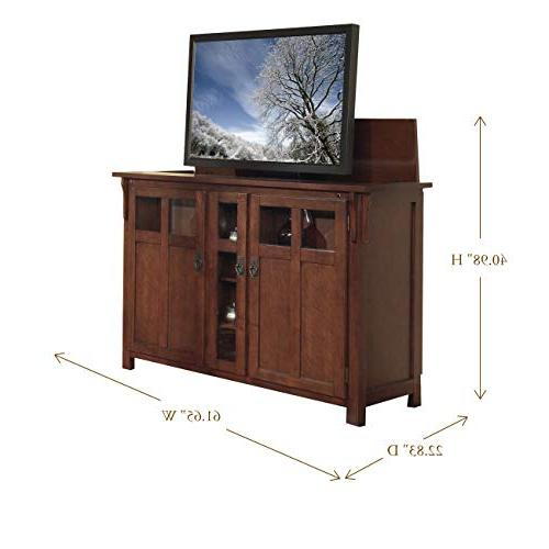 Touchstone Bungalow TV Lift - Up TVs Diagonal Mission Style Motorized TV Cabinet - TV Cabinet With IR/RF,