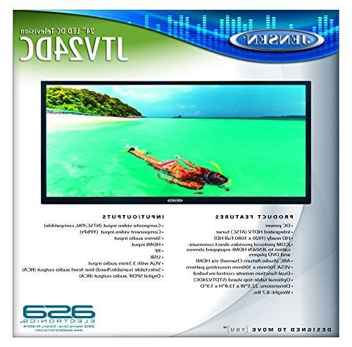 "JENSEN JTV24DC 24"" Inch 12V LED TV Tuner, HD Ready Specially Yacht, Trailer, etc"