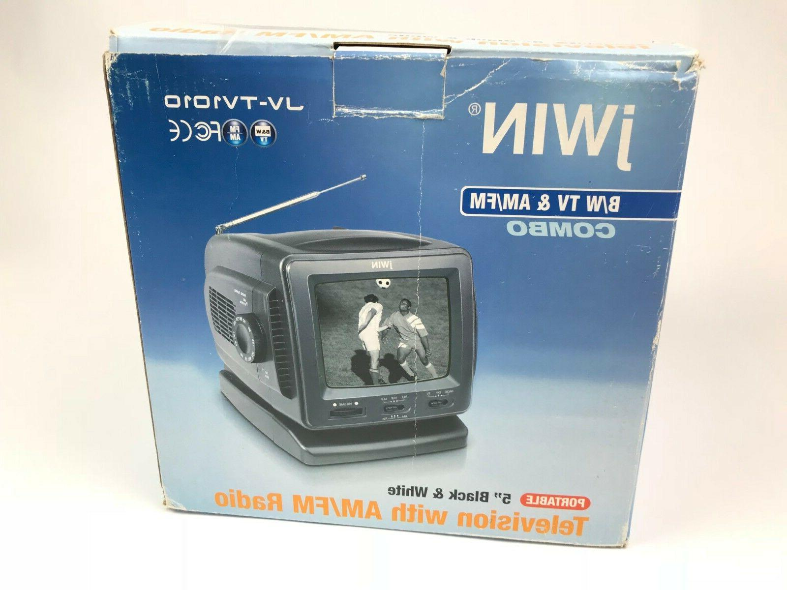 jWIN 5 Inch Analog Black White TV AM/FM Combo Portable