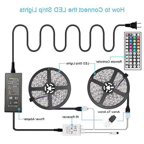 LED 10M/32.8ft 5050 Strips Lighting Changing with 44 IR Remote Ideal Home Kitchen Back