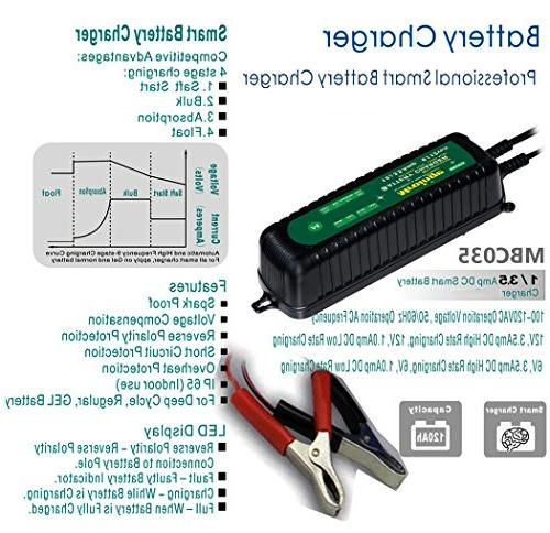 Mroinge 12V Smart Battery TVs, and More Vehicle WET AGM Waterproof