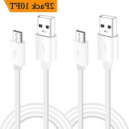 10 Ft 2-Pack Micro USB Cable for Kindle DX, Keyboard,Touch,
