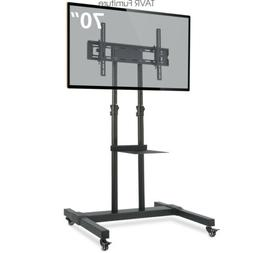 Mobile TV Stand with Height Adjustable&TILT Mount on Wheels