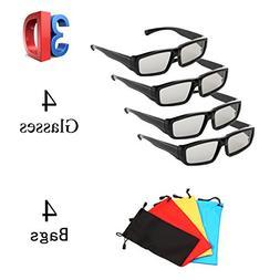 4 Pack Unisex Passive Polarized 3D Glasses for LG, Sony, Pan