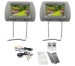 "Pair Rockville RHP7-BK 7"" Black TFT-LCD Car Headrest TV Mo"