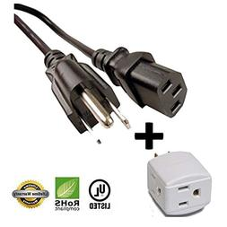 "Huetron 5ft Power Cord for Seiki LC32B56 32"" LCD HDTV TV + 3"