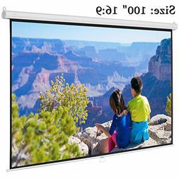 "Projector Screen, Auledio Portable 100"" Diagonal 16:9 HD Man"