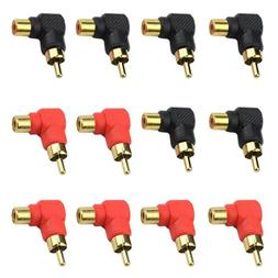 XLX 12PCS RCA 1 Male to 1 Female Right Angle Plug Connector