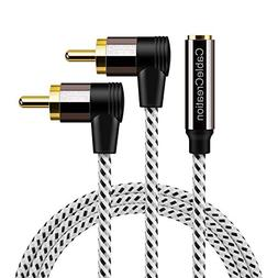 RCA to 3.5mm Female,6ft 3.5mm Jack to 2RCA 90 Degree Male St