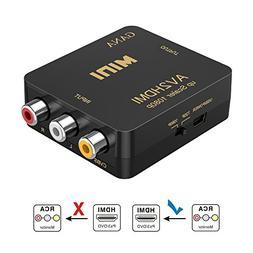 RCA to HDMI, AV to HDMI,GANA 1080P Mini RCA Composite CVBS A