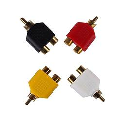 Conwork RCA Male to Dual RCA Female Splitter Adapter For Aud