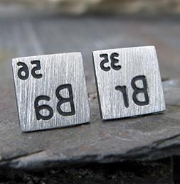 Scientific periodic table elements earrings brushed sterling
