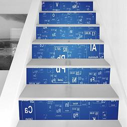 Stair Stickers Wall Stickers,6 PCS Self-Adhesive,Science,Che