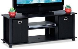 """Small TV Stand, Wood - for TVs up to 37"""", with Storage Bins,"""